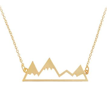 N222 Pendant Clavicle Necklace For Women Howllow Mountain Minimalist Fashion Collares Summer Everyday Jewelry Collares Bijoux