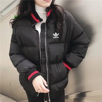 """Adidas"" Women Casual Fashion Multicolor Stripe Long Sleeve Zip Turtleneck Cotton-padded Clothes Coat"