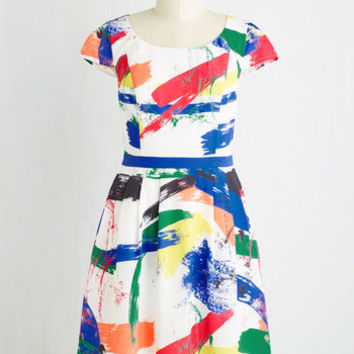 Mid-length Short Sleeves Fit & Flare Made for Each Color Dress in Brushstrokes