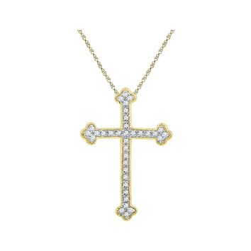 10kt Yellow Gold Womens Round Diamond Gothic Cross Religious Pendant 1/5 Cttw