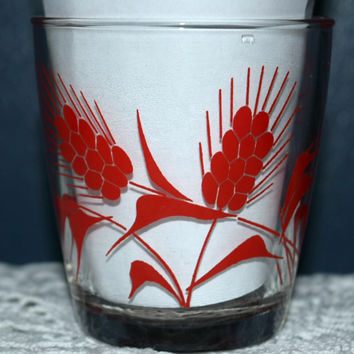 Vintage Glassware-Sour Cream Glass-Hazel Atlas-Red-Wheat-1/2 Pint