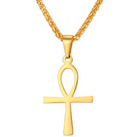 Religious ANKH Cross Charm Pendant Necklace Egyptian Peace Faith Key Of Life Pendant with chain P330