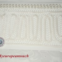 All occasion White handmade Greeting card, heavy card stock, Cream vintage border, 2 rows of pearls and a Rhinestone button