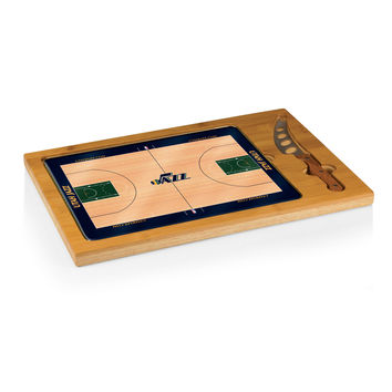 Utah Jazz - 'Icon' Glass Top Serving Tray & Knife Set by Picnic Time (Basketball Design)