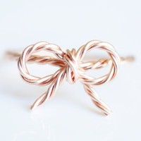 TINY BOW rope ring - 14k Rose gold filled twisted wire wrap