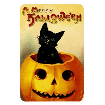 Vintage Halloween Magnet with Black Cat & Pumpkin