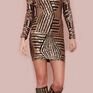 Black Gold Geometric Sequin Sheer Mesh Cut Out Sides Long Sleeve Scoop Neck Bodycon Mini Dress