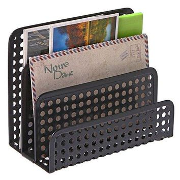 3 Slot Perforated Metal Mesh Mail Sorter Rack Desktop Letter and Document Organizer Black