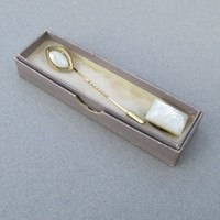 Antique Edwardian Mother-of-Pearl Gold Filled Stick Pin & Tie Clip in Original Box