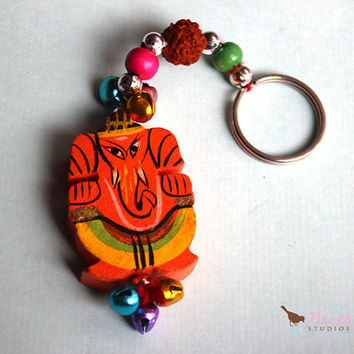 Limited Edition Hand Painted Wooden Ganesha Key Chain Ring Hand Carved Indian Wood Toy Key Ring Keepsake
