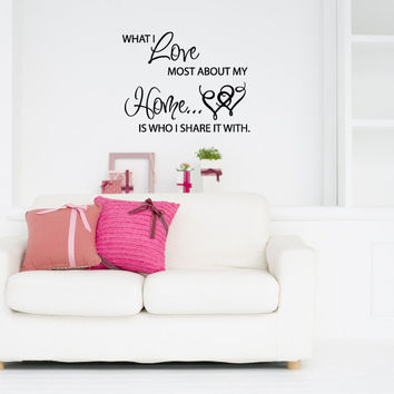 What I Love Most About My Home is Who I Share it With Vinyl Wall Words Decal Sticker Graphic