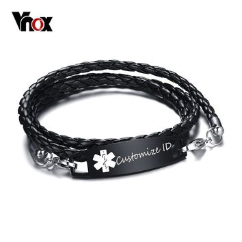 "Vnox Personalized Custom Medical Alert ID Bracelet for Men Black Leather Braided Multi-layer Wrap  Bracelet 8.4"" Free Engraving"