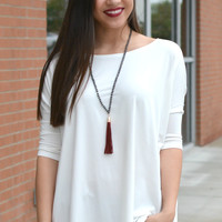 Piko 3/4 Length Sleeve Piko Top- Off White