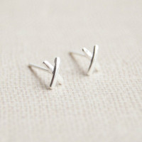 925 Sterling Silver earrings,X silver earring studs