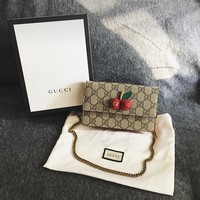 GUCCI Women Cherry Flip cover shoulder messenger chain Bag