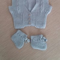 Vest and booties, baby boy set, knitting