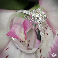 "18k White Gold ""Flush-Fit"" Diamond Engagement Ring"