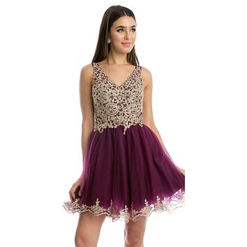 Lace Applique Bodice Plum Homecoming Short Dress