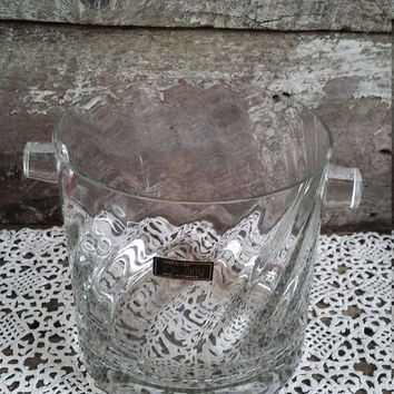 Handblown Glass Ice Bucket, Romania, Entertaining, Dining, Serving, Heavy Glass, Vintage, Clear Glass, Parties, Holiday, Ice Jar, Barware