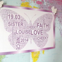 Childrens Personalised Butterfly Art