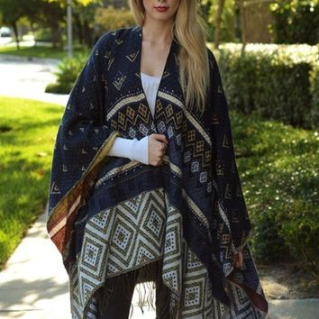 Tribal Instinct Poncho - Navy !