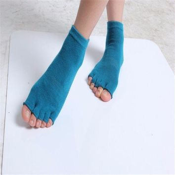 Fashion Non-slip Half Toe Ankle Grip Excercise Pilates Dance Yoga Socks Cotton