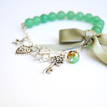 Charm bracelet green aventurine gemstone and silver chain