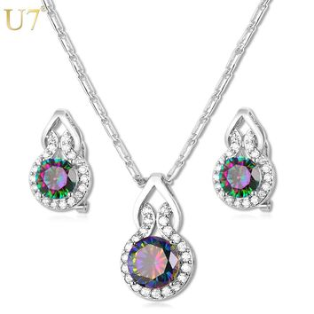 U7 European Big CZ Crystal Jewelry Sets Gold Color Round Cubic Zirconia Earrings & Necklace Set Women Costume Party Gift S798