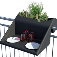 Table Balkonzpt with flower pot / To hook onto balconies railing