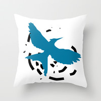 MockingJay Revolution - Blue Throw Pillow by Lauren Lee Designs