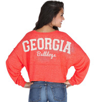 Georgia Bulldogs chicka-d Women's Cropped Varsity Jersey Long Sleeve Top - Red