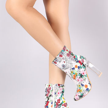 Spring Garden Print Chunky Perspex Heeled Booties