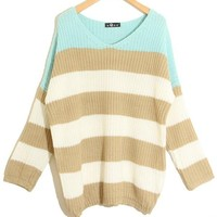 Mint Stripes V-neck Loose Knitted Knitting Sweater Pullover Jumpers-EMS!