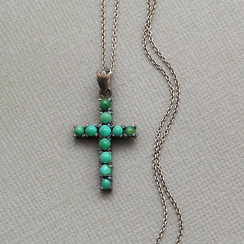 Antique Victorian PERSIAN Turquoise CROSS Pendant Necklace Sterling Silver Religious Jewelry, Ladies Womens Easter Gift for Her