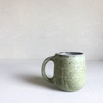 GREEN MUG  16oz, ceramic, pottery, handmade, rustic, coffeemug, Fathers Day gift, handmademug, potterymug, greenmug gift for dad, bigmug big