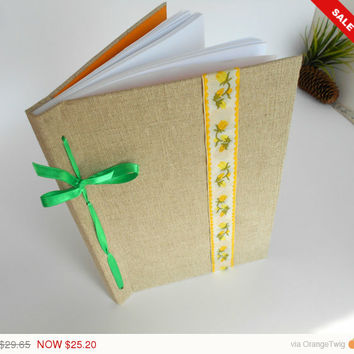 Sale -Autumn sale Refillable burlap fabric journal- 200 or 400 pages- A4, A3, A2- large personilized journal with ribbon lash down binding a