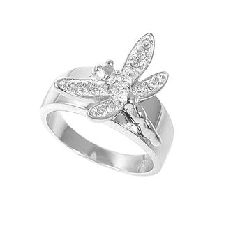 925 Sterling Silver CZ Dragonfly Ring 20MM