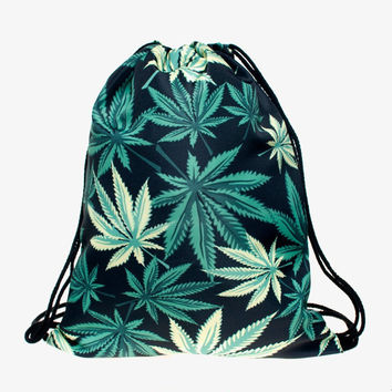 Who Cares Weed 3D Printing Women Bolsos Outing Drawstring Bag Man Wild 2016 Travel Backpack Vogue Trend Line Brand Mochila