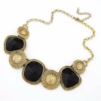 Black and Antique Gold Collar Necklace