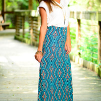 Carry On Maxi Skirt, Teal/Navy
