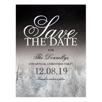 Formal Black White Christmas Party Save the Date Postcard