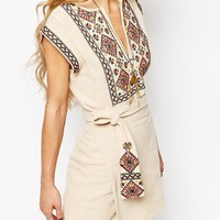 Free People Running Wild Embroidered Mini Dress in Beige