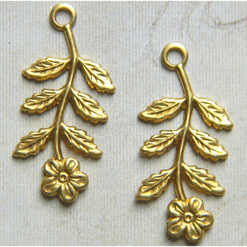 Raw Brass Flower Leaf  Stamping Drop  14mm x 29mm - 6 pcs.