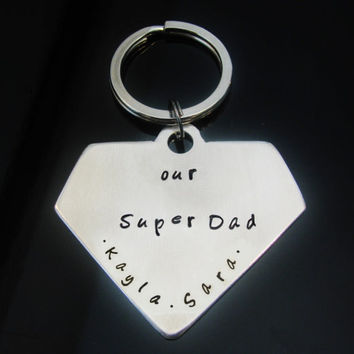 Fathers Day Superman Keychain Fob Custom I am a Dad What is you superpower Hand Stamped Aluminum Father Dad Husband Mens Key
