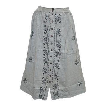 Mogul Women's Medieval Style Skirt Grey Embroidered Rayon Button Front Skirts - Walmart.com