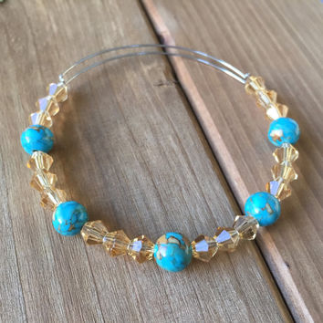 Wanderlust // Adjustable Beaded Bangle Bracelet // Alex and Ani Style