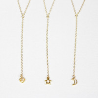 Lariat Necklace / Delicate Y Necklace / Minimal Dainty Drop Pendant Necklace / 14K Gold Filled Chain, Choose your Pendant