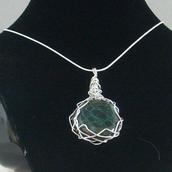 EXTRA DRAMA - Hand Painted Green and Black Glass Pendant then Wire Wrapped with Silver Aluminum. Bring the Drama tonight!