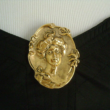 Vintage Gold Toned Brass Antique Finish Heavily Embossed Profile Lady Cameo Style Gibson Girl Victorian Revival Brooch Pin Accessory Jewelry