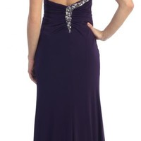 Elegant One Shoulder Prom Homecoming Formal Sexy High Slit Dress Plum Clearance